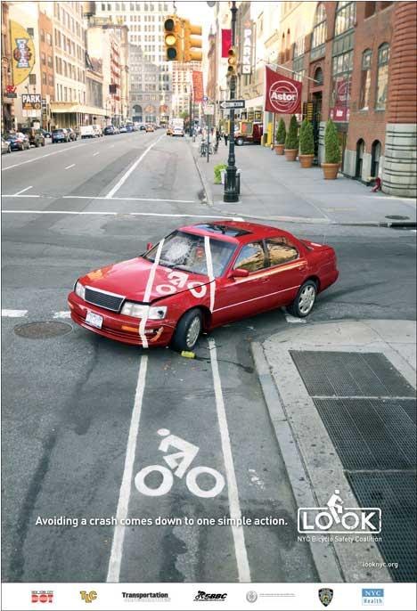 Fahrradstreifen am Auto